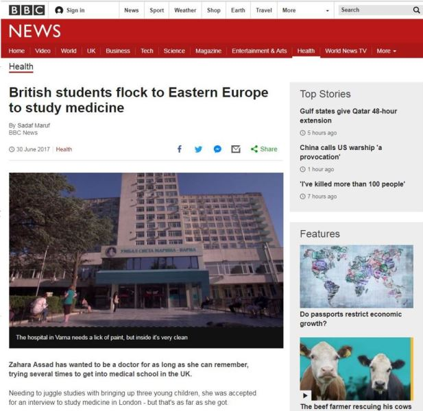 BBC Report on the Benefits of Medical Education in Varna